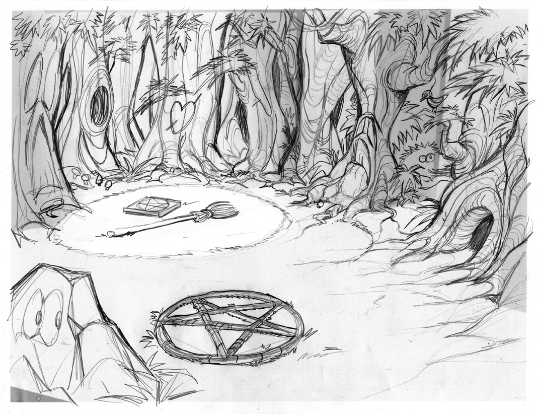 Pencil Sketch of the forest scene