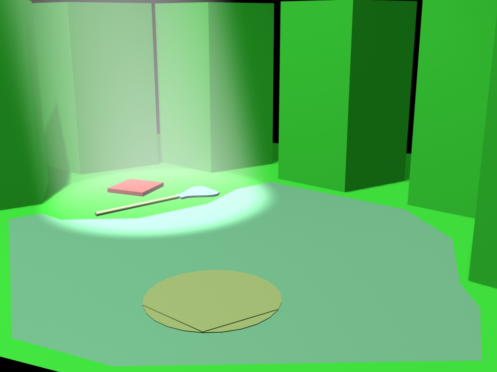 3D mockup of the forest scene